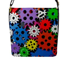 Colorful Toothed Wheels Flap Messenger Bag (l)  by Nexatart