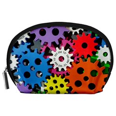 Colorful Toothed Wheels Accessory Pouches (large)  by Nexatart