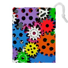 Colorful Toothed Wheels Drawstring Pouches (xxl) by Nexatart