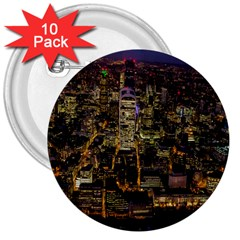 City Glass Architecture Windows 3  Buttons (10 Pack)