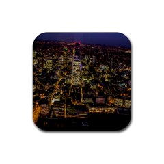 City Glass Architecture Windows Rubber Coaster (square)