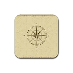 Compass Vintage South West East Rubber Coaster (square)