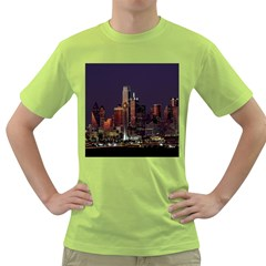 Dallas Texas Skyline Dusk Green T Shirt