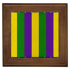 Mardi Gras Striped Pattern Framed Tiles by dflcprints