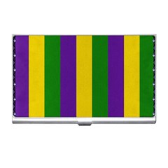 Mardi Gras Striped Pattern Business Card Holders by dflcprints