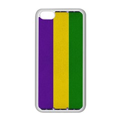 Mardi Gras Striped Pattern Apple Iphone 5c Seamless Case (white) by dflcprints