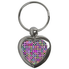 Design Circles Circular Background Key Chains (heart)  by Nexatart