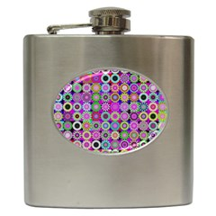 Design Circles Circular Background Hip Flask (6 Oz) by Nexatart