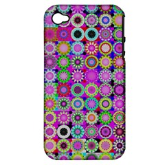 Design Circles Circular Background Apple Iphone 4/4s Hardshell Case (pc+silicone) by Nexatart