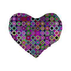 Design Circles Circular Background Standard 16  Premium Heart Shape Cushions by Nexatart