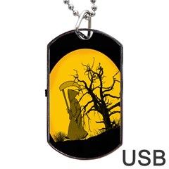 Death Haloween Background Card Dog Tag Usb Flash (two Sides) by Nexatart