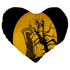 Death Haloween Background Card Large 19  Premium Flano Heart Shape Cushions by Nexatart