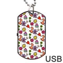 Doodle Wallpaper Dog Tag Usb Flash (one Side)