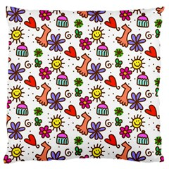 Doodle Wallpaper Large Cushion Case (two Sides)
