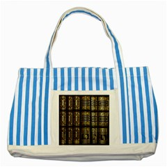 Detail Golden Gold Ornaments Striped Blue Tote Bag by Nexatart