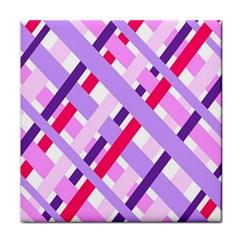 Diagonal Gingham Geometric Tile Coasters