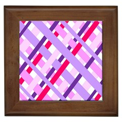 Diagonal Gingham Geometric Framed Tiles by Nexatart