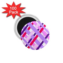 Diagonal Gingham Geometric 1 75  Magnets (100 Pack)  by Nexatart