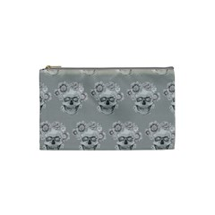 Grey Floral Skull Sketch Cushion Cosmetic Bag (small)