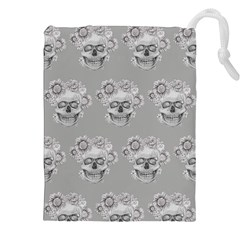 Grey Floral Skull Sketch Cushion Drawstring Pouches (xxl) by Coralascanbe