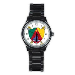 Coat Of Arms Of Cameroon Stainless Steel Round Watch by abbeyz71