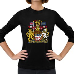 Coat Of Arms Of Canada  Women s Long Sleeve Dark T Shirts by abbeyz71