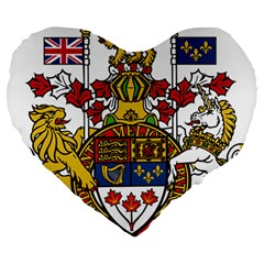 Canada Coat Of Arms  Large 19  Premium Heart Shape Cushions by abbeyz71