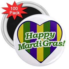 Happy Mardi Gras Logo 3  Magnets (100 Pack) by dflcprints