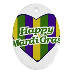 Happy Mardi Gras Logo Oval Ornament (two Sides) by dflcprints