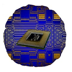 Processor Cpu Board Circuits Large 18  Premium Round Cushions