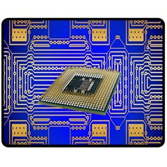 Processor Cpu Board Circuits Double Sided Fleece Blanket (medium)  by Nexatart