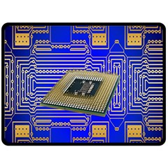 Processor Cpu Board Circuits Double Sided Fleece Blanket (large)  by Nexatart