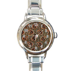 Persian Silk Brocade Round Italian Charm Watch