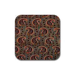 Persian Silk Brocade Rubber Square Coaster (4 Pack)