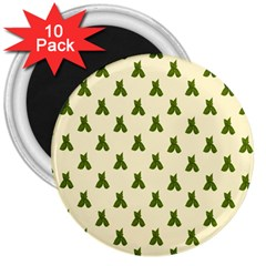 Leaf Pattern Green Wallpaper Tea 3  Magnets (10 Pack)  by Nexatart