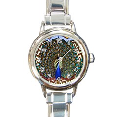 The Peacock Pattern Round Italian Charm Watch