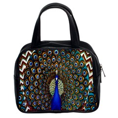 The Peacock Pattern Classic Handbags (2 Sides) by Nexatart