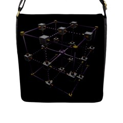 Grid Construction Structure Metal Flap Messenger Bag (l)