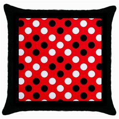 Red & Black Polka Dot Pattern Throw Pillow Case (black) by Nexatart