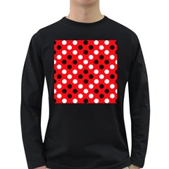 Red & Black Polka Dot Pattern Long Sleeve Dark T Shirts