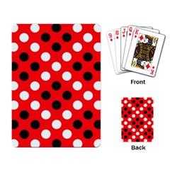 Red & Black Polka Dot Pattern Playing Card
