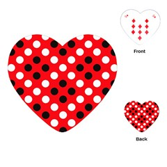 Red & Black Polka Dot Pattern Playing Cards (heart)  by Nexatart