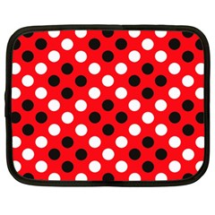 Red & Black Polka Dot Pattern Netbook Case (xl)
