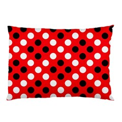 Red & Black Polka Dot Pattern Pillow Case (two Sides)