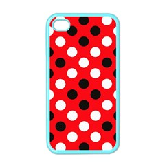 Red & Black Polka Dot Pattern Apple Iphone 4 Case (color)