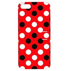 Red & Black Polka Dot Pattern Apple Iphone 5 Hardshell Case With Stand