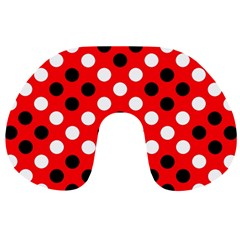 Red & Black Polka Dot Pattern Travel Neck Pillows