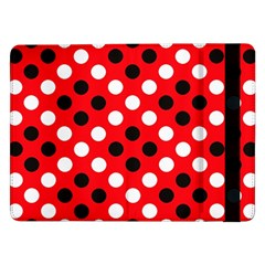 Red & Black Polka Dot Pattern Samsung Galaxy Tab Pro 12 2  Flip Case by Nexatart