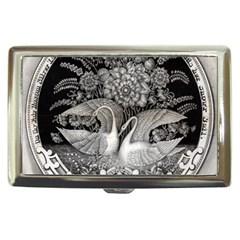 Swans Floral Pattern Vintage Cigarette Money Cases by Nexatart