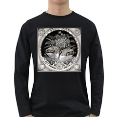 Swans Floral Pattern Vintage Long Sleeve Dark T Shirts